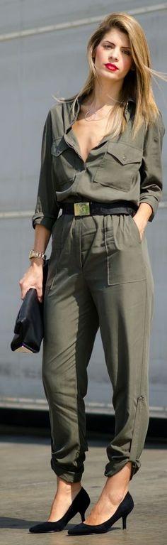 1c08336f11ff Army Green Silk Jumpsuit LadyLuxuryDesigns Olive Jumpsuit
