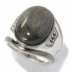 Mens en Vogue II 20 x 15mm Black Obsidian & Black Spinel Polished Ring