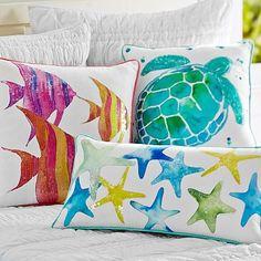 Sea Creature Watercolor Pillow Cover turtle 亀 ヒトデ starfish Beach Room, Teal Beach Bedroom, Ocean Bedroom, Beach Crafts, Beach House Decor, Fabric Painting, Watercolor Paintings, Beach Themes, Coastal Decor