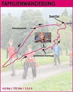 Familienwanderung  (4.6 Km/170 Hm) Neu ist auch eine Familienwanderung ausgeschildert, welche zu einer betreuten Feuerstelle führt. So wird für die ganze Familie etwas angeboten. Gegen Entrichtung der Teilnahmegebühr von nur CHF 5.‐ erhält jeder Wanderer am Start der Familienwanderung ein Cervelat, ein Mutschli und ein Getränk. Aus organisatorischen Gründen ist die Online‐Anmeldung via www.aktivtag.ch erwünscht!