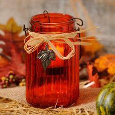 Orange Ribbed Glass Tealight Candle Holder