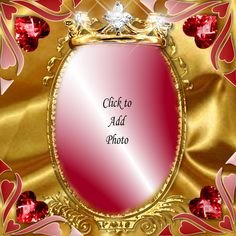 The Queen of Hearts This Kimi consists of a background of gold satin on top of which sits a fancy gold oval picture frame with a crown of gold and diamonds and surrounded by ruby hearts. Happy Birthday Frame, Happy Birthday Cake Images, Birthday Photo Frame, Birthday Cake With Photo, Birthday Frames, Birthday Photos, Pink Background Images, Frame Background, Oval Picture Frames