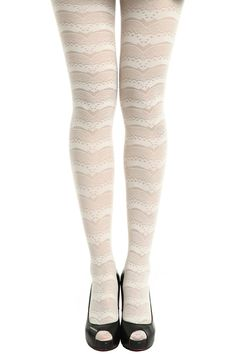 ROMWE | Wavy Lace White Tights, The Latest Street Fashion #ROMWEROCOCO