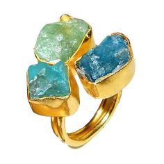 Gold-plated Brass Apatite and Aqua Rough Cut Gemstone Adjustable Ring https://sitaracollections.com/collections/handmade-rings/products/gold-plated-apatite-and-aqua-adjustable-ring