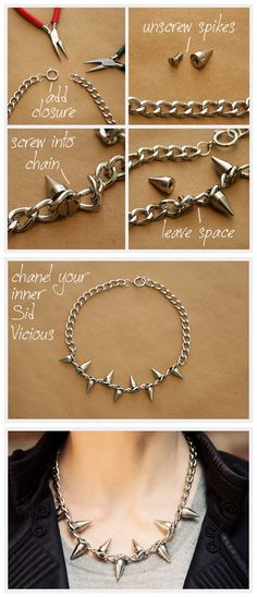 This Spiked Chain Necklace DIY is a subtle yet edgy accessory, and you can easily and quickly make this in half an hour. It's easy!