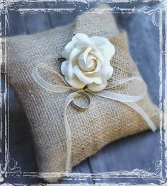 Burlap Ring Bearer Pillow - Rustic Weddings - Spring Summer Fall Winter Wedding - Country Charm -  Natural - Simply Elegant - Beige Cream