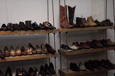 DIY rope and wood shelving.  For The Shoes