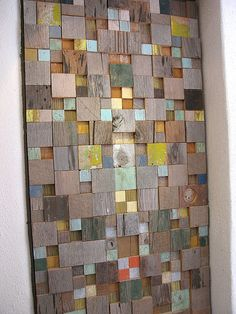Interior Door 1 A door inside my parents house. Designed by Alexander Girard. Wood Mosaic, Wooden Doors, Oak Doors, Panel Doors, Front Doors, Interior Barn Doors, Recycled Art, Custom Wood, Wood Wall Art