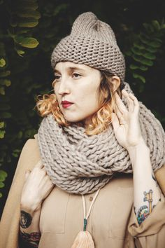 Lambton Peruvian wool Cowl (shown in fawn) + Mono toque / Good Night, Day