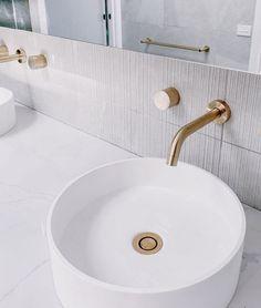 W O W How stunning is this bathroom using our Shale Moon Ribbed 😍 Thanks @ubiquitous.interior.design for sharing 🧡 #goldfixtures #shalemoon #shalemoonribbed #elegancetiles #goldtap #roundsink #roundbasin #texturedtiles #greytiles #tilelove #tileloves #tiles #tiles #whiteaesthetic Grey Modern Bathrooms, Gold Taps, Round Sink, Tiles Texture, Grey Tiles, White Aesthetic, Basin, Moon, Interior Design