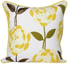 "Fleur 18"" Square Floral Print Decorative Throw Pillow (V4848)"