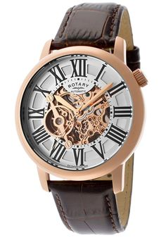 Rotary GLE000017-21 Watches,Men's Rose Gold Tone Skeletonize Dial Brown Genuine Leather, Casual Rotary Quartz Watches