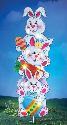 Lighted Stacked Easter Bunnies Yard Stake Collectibles Easter Outdoor Decor