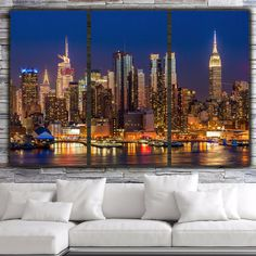 New York City Skyline at night; simply one of the best there is. Great way to fill your large wall, although other sizes are available as well. SHOP WITH CONFIDENCE FROM HOLY COW CANVAS STUDIOS: - EPS