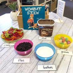 "Tash Bright on Instagram: ""Crunchy, munchy, for my lunchy, wombat stew"" Animal Activities, Literacy Activities, Preschool Activities, Australia Crafts, Australia Day, Naidoc Week Activities, Wombat Stew, Aussie Christmas, Australian Animals"