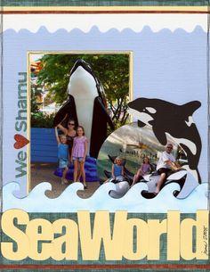 #papercraft #scrapbook #layout.  SeaWorld scrapbooking!