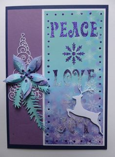 'Peace, Love & Joy at Christmas' card.  Imagination Craft's - Patterned panel card.  Amethyst & Diamond Sparkle Mediums.  Metal spatula.  Amethyst Detail Sparkle.  Peace, love & joy panel stencil.Deer & Tree dies - Memory Box.  Poinsettia and Pine branch dies - Marianne Design.  June 2014.