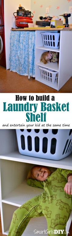 Tutorial - How to Build a Laundry Basket Shelf by Smart Girls DIY
