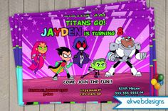 Teen Titans Go! Birthday Invitations- Custom Birthday Invitations