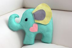 Stuffed Felt Elephant 10  Felt Elephant Pillow by EndlessFeltMagic, $20.00