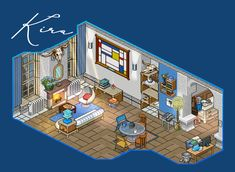 Habbo Pixel, Pixel Art, Game Place, Small Canvas Art, Fantasy House, Modern Room, All Art, Disney, Architecture Design