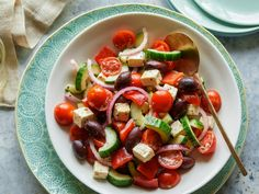 Try Ina Garten's fresh Greek Salad recipe from Barefoot Contessa on Food Network for a colorful veggie dish that's studded with salty olives and feta cheese. Food Network Recipes, Cooking Recipes, Healthy Recipes, Cooking Ideas, Vegetable Recipes, Healthy Meals, Easy Recipes, Healthy Food, Feta