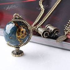 "Crystal Vintage Women Necklace Dress Charm Globe Bead Pendant Long Chain 33""L"