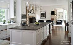 fireplace in kitchen !! Far Hills Estate | M. Frederick