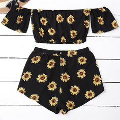 eda45c417f64 Women's Casual Two Piece Set Women Off Shoulder Sunflower Printed Beac –  geekbuyig Crop Top And