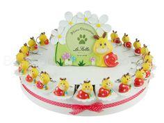 Torta bomboniera con 22 portachiavi lumachine birichine confetti inclusi #tortadibomboniere #torta #lumachine
