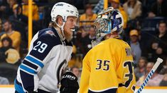 NASHVILLE, TN - MARCH Pekka Rinne of the Nashville Predators screens Patrik Laine of the Winnipeg Jets during an NHL game at Bridgestone Arena on March 2018 in Nashville, Tennessee. (Photo by John Russell/NHLI via Getty Images) Jets Hockey, Hockey Teams, Ice Hockey, Predators Hockey, Stanley Cup Playoffs, Round Two, Nhl Games, Nfl Fans, Nashville Tennessee