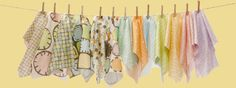 These pretty fabrics are meant for baby's room, but I think they would be fun table linens too.