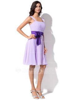 A-Line/Princess Knee-Length Chiffon Charmeuse Bridesmaid Dress With Ruffle Sash Bow(s) (007055192)