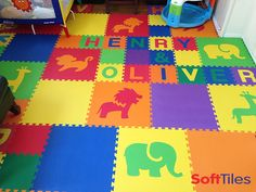 Make your own personalized baby play mats using SoftTiles Alphabet Foam Mats. We sell each letter individually so its easy to spell your childs name! Add SoftTiles Safari Animals and you have a colorful and safe children's playroom! Baby Playroom, Baby Room, Playroom Flooring, My Little Baby, Safari Animals, Personalized Baby, Diy For Kids, Play Mats, Kids Room