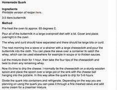 Quark Recipe