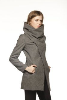 high collar hooded coat