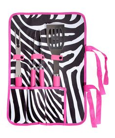 Take a look at this Pink Zebra Barbecue Set by Summer Barbecue Collection on #zulily today!