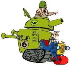 El Súper Chatarra Especial, conducido por el sargento Blast y el soldado Meekly - Los autos locos.