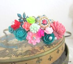 Pink Green Indie Wedding Headband Teal Red Aqua Head Band Emerald Green Floral Hair Band Accessories Flower Statement Bridal Head Piece