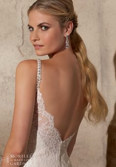 #Bridal #Gowns / #Dresses #Style 2704: Elegant Alencon #Lace with #Crystal #Beaded Straps- Available in Three Lengths: 55 inches, 58 inches, 61 inches http://www.morilee.com/bridals/bridal/2704
