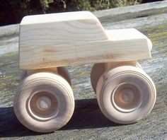 Wooden Toy Monster Truck by Grandpacan on Etsy Wooden Toy Trucks, Wooden Car, Wooden Toys, Woodworking Toys, Woodworking Projects Diy, Cardboard Car, Wood Toys Plans, Wood Projects For Kids, Wooden Wheel