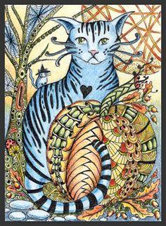 Photo Gallery: Zentangles » ZIA - Zentangle Inspired Art » Blue Kitty Picks A Pumpkin