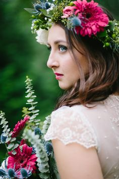 Metro Atlanta wedding. #wedding #flowercrown #gerbers #eucalyptus