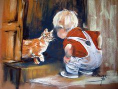 Eliane Bordarier portrait au pastel sec «Dis ! Dog Portraits, Portrait Art, Pastel Artwork, Cute Paintings, Human Art, Chalk Pastels, Cat Art, Art Pictures, Watercolor Paintings