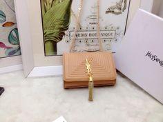 S/S 2015 Saint Laurent Bags Cheap Sale-Classic MONOGRAM SAINT LAURENT Tassel Satchel in Apricot Matelasse Leather