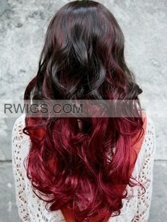 Black and Red Ombre Hair | Black and Red Ombre Long Curly Neat-bangs Synthetic Mono Machine Made ...