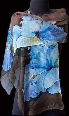 Hand Painted Silk Scarf Silk Chiffon Scarf Blue Irises Ready to Ship