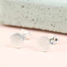 Round Textured Sterling Silver Stud Earrings at lisaangel.co.uk