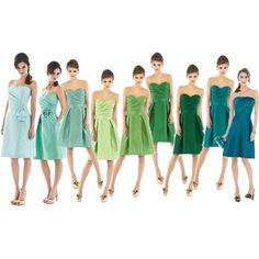 Great variety in shades of blue-green Ombre Bridesmaid Dresses, Wedding Bridesmaids, Wedding Dresses, On Your Wedding Day, Fall Wedding, Ombre Colour, Color, Wedding Entourage, Always A Bridesmaid