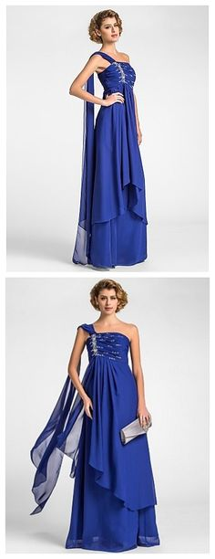 A-line Plus Sizes Royal Blue Floor-length dress, best choice for bride's mom! Share it with your mom and see how she like it!